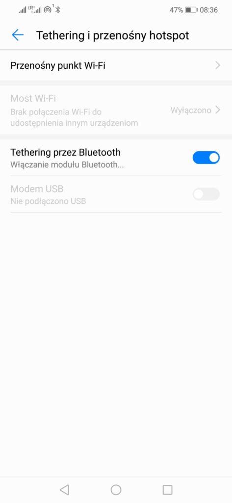 tethering przez bluetooth
