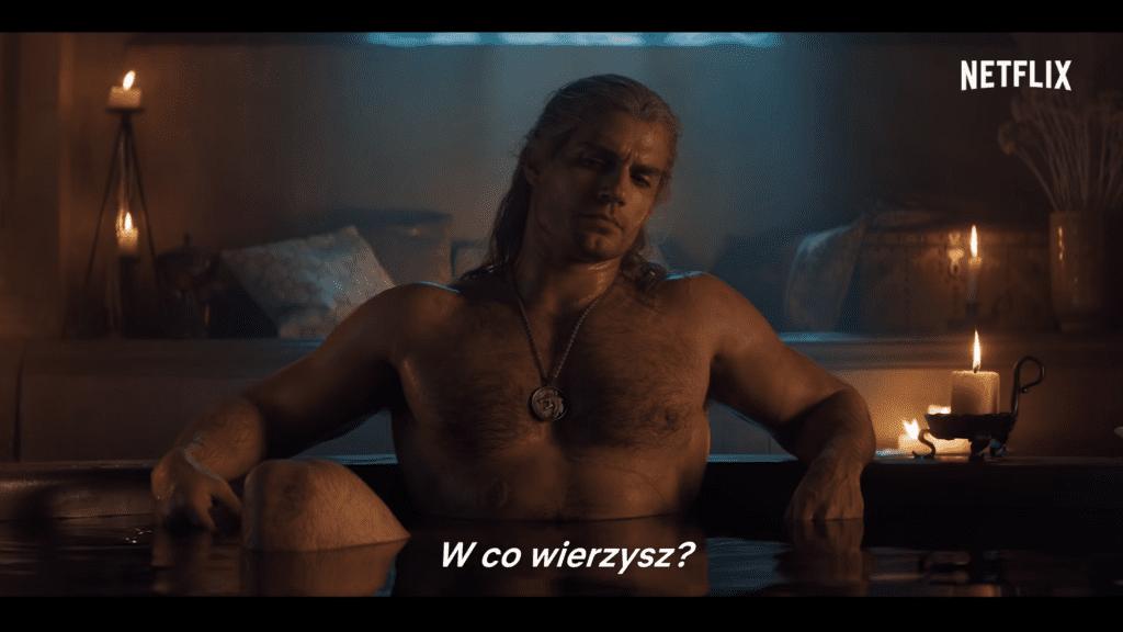 Wiedźmin Netflix Geralt w wannie