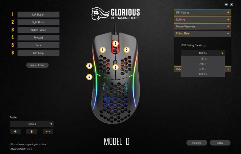 Glorious PC Gaming Race Model D Częstotliwość próbkowania w oprogramowaniu