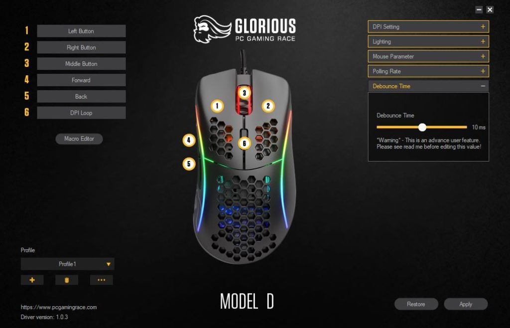 Glorious PC Gaming Race Model D Debounce Time oprogramowanie