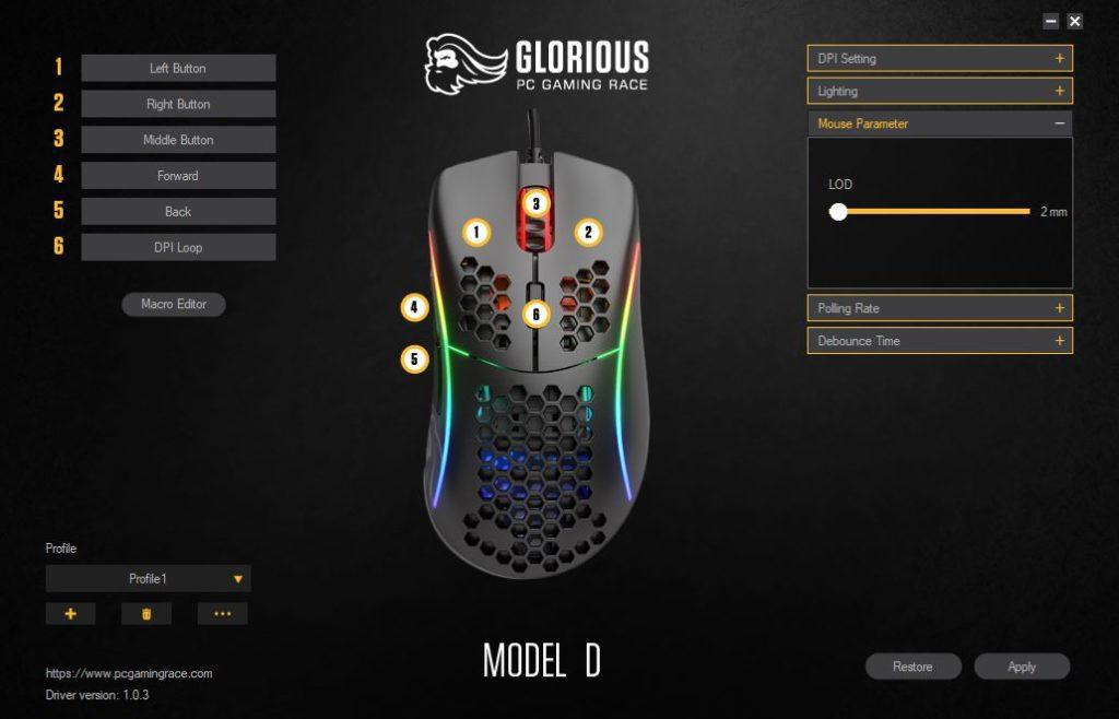 Glorious PC Gaming Race Model D Ustawienie LOD w oprogramowaniu