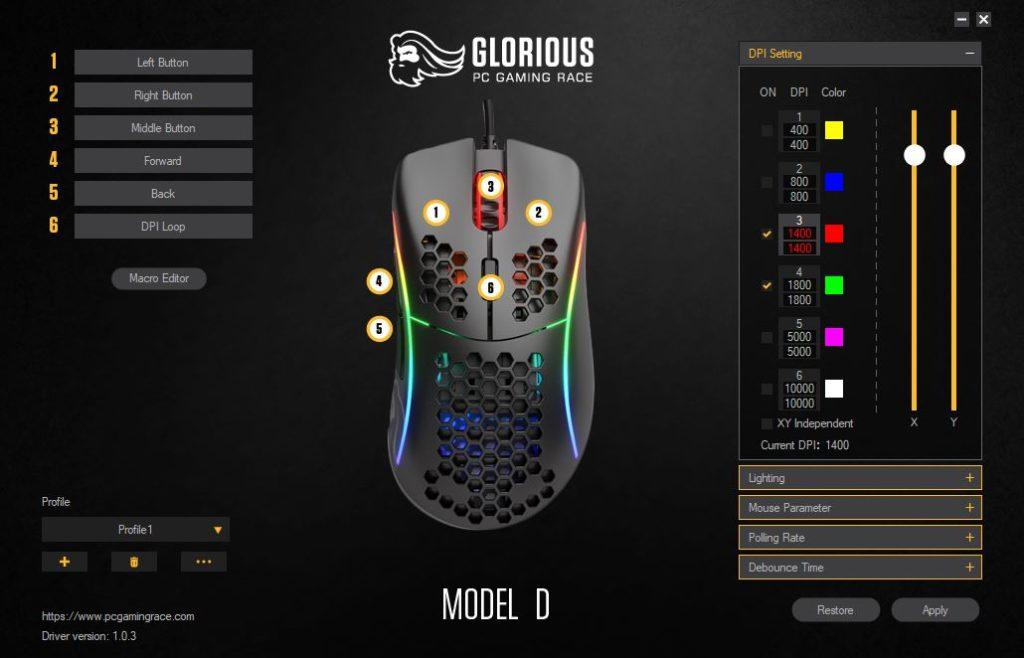 Glorious PC Gaming Race Model D główna strona oprogramowania zmiana DPI