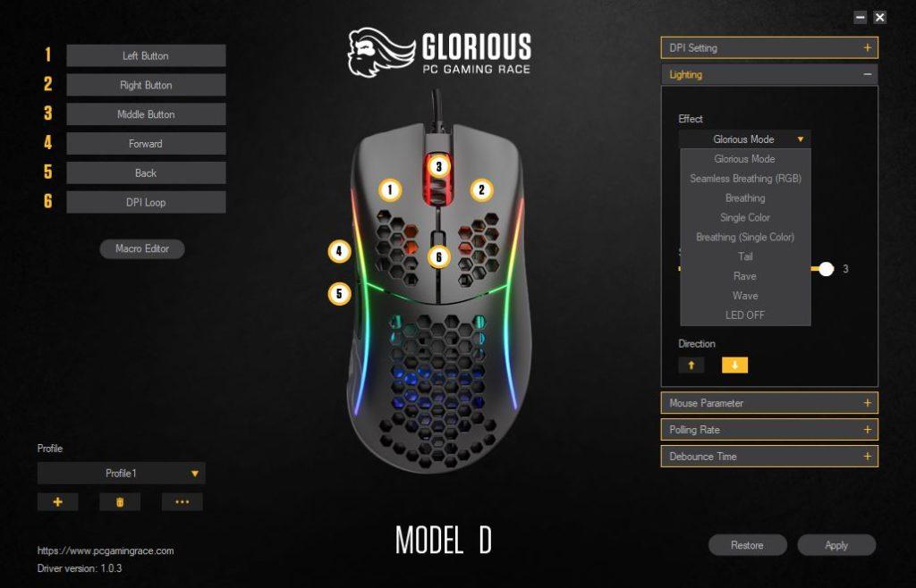 Glorious PC Gaming Race Model D edycja podświetlenia w oprogramowaniu