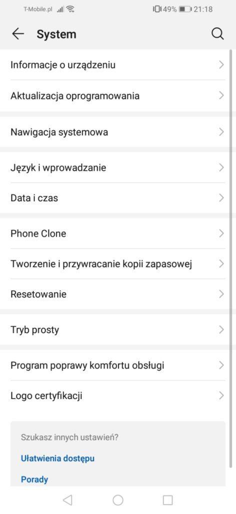 Huawei Y6s nakładka systemowa