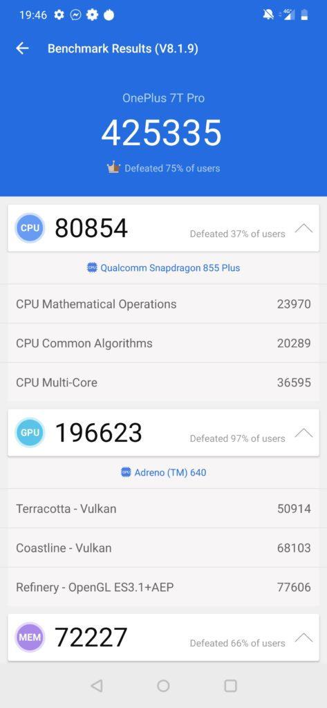 oneplus 7t pro benchmark