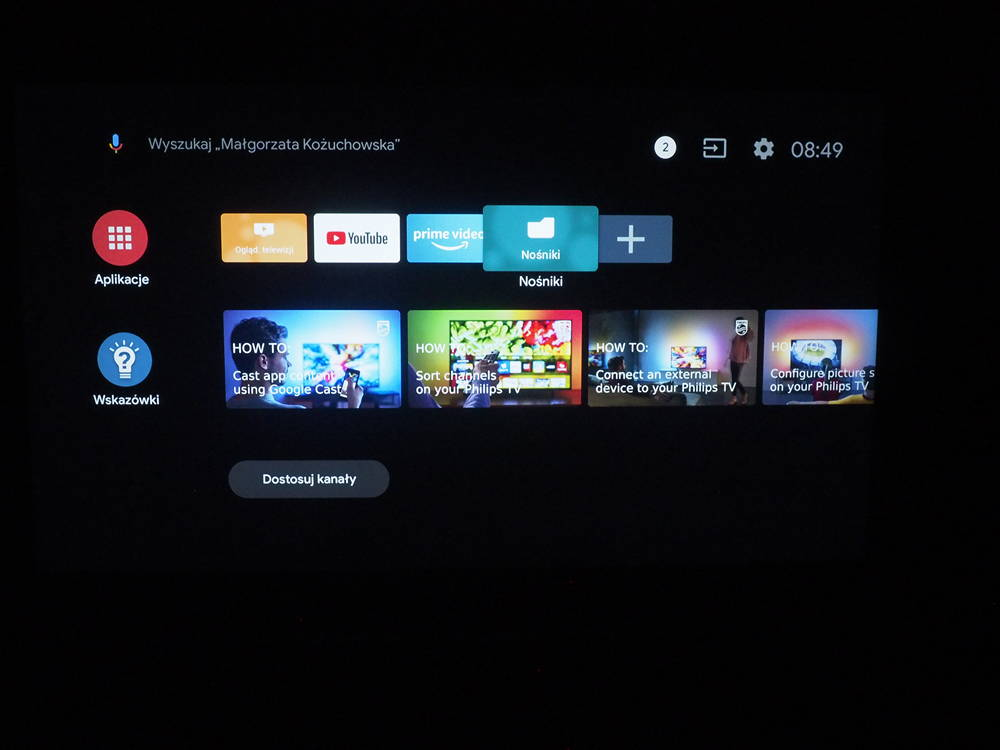 interfejs systemu android TV