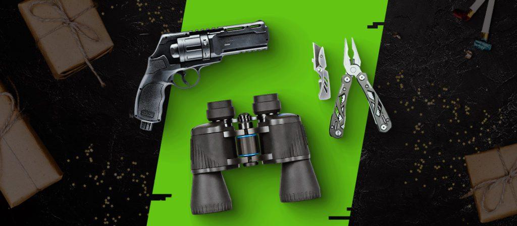lornetka, multitool i rewolwer na tle motywu graficznego sklepu combat