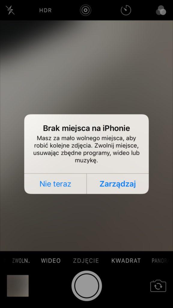 komunikat o braku miejsca na iPhonie