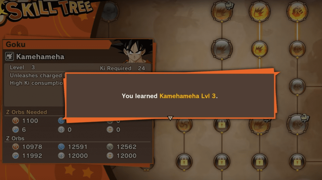 dragon ball z kakarot skill tree