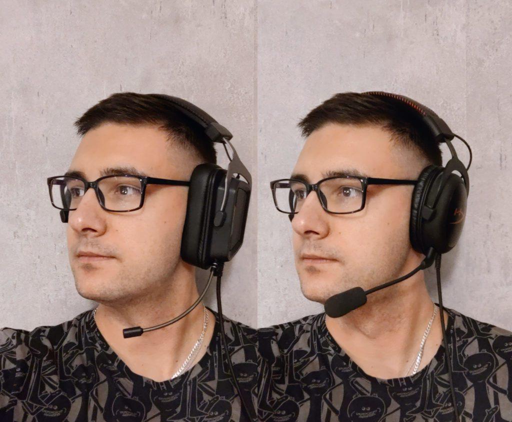 Patriot Viper V380 vs HyperX Cloud porównanie wielkości słuchawek