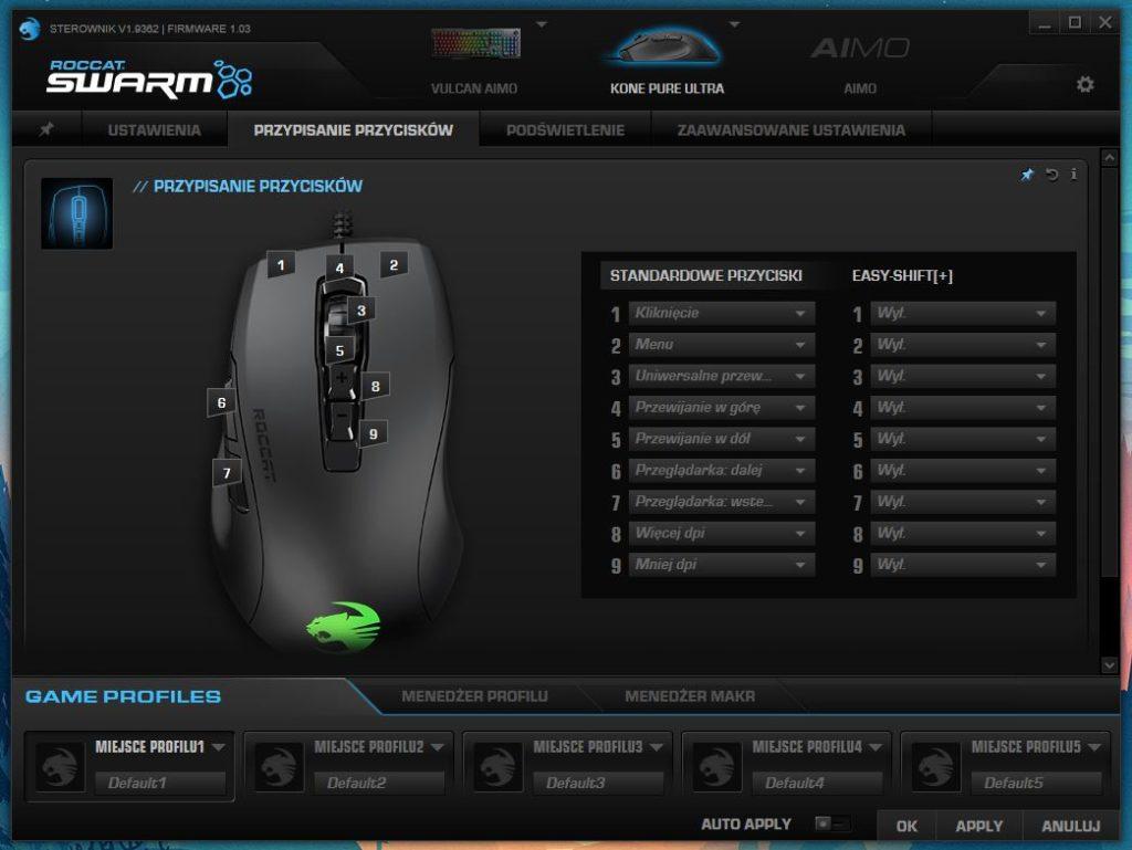 Roccat Swarm Kone Pure Ultra Przypisanie przycisków
