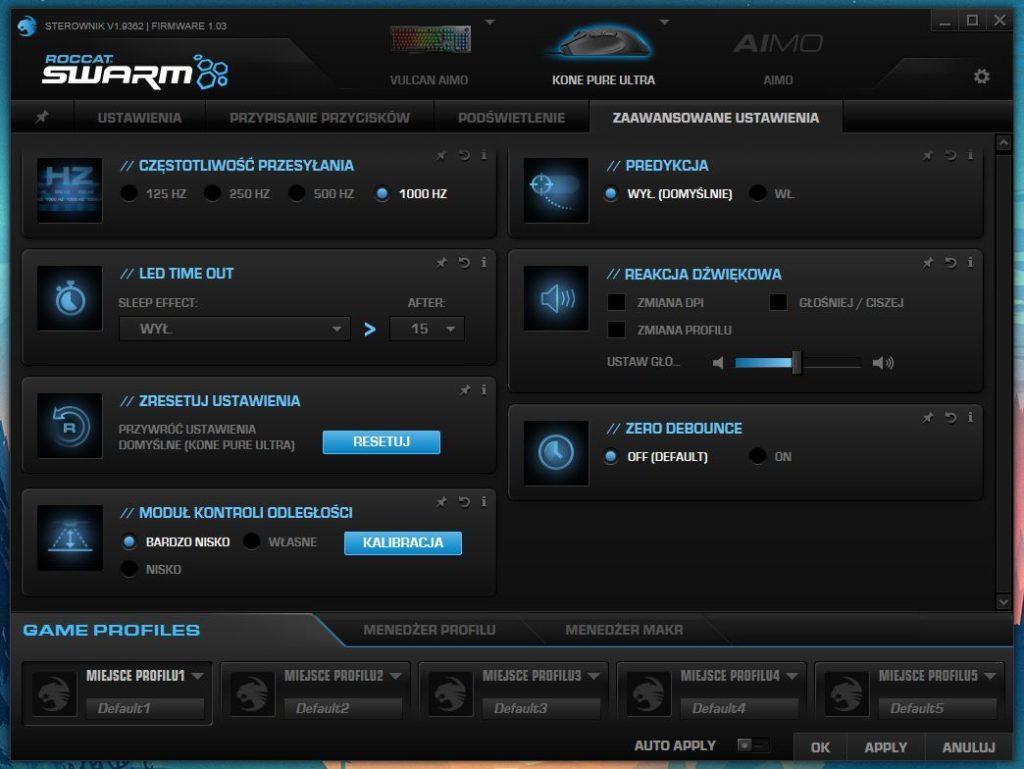 Roccat Swarm Kone Pure Ultra Zaawansowane ustawienia