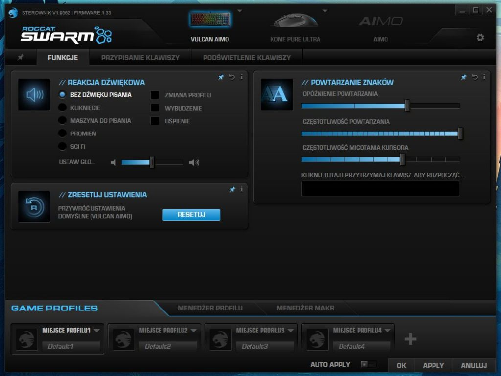Roccat Swarm okno funkcji klawiatury
