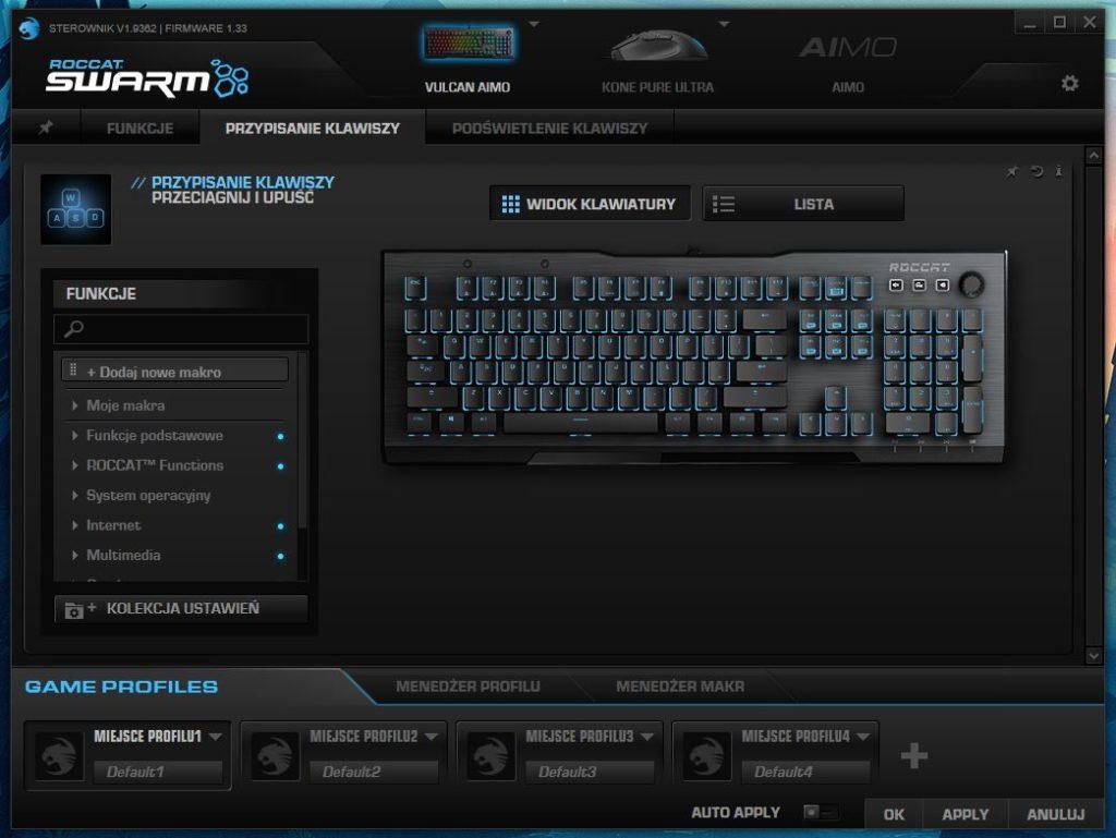 Roccat Swarm konfiguracja przypisanych funkcji do klawiszy