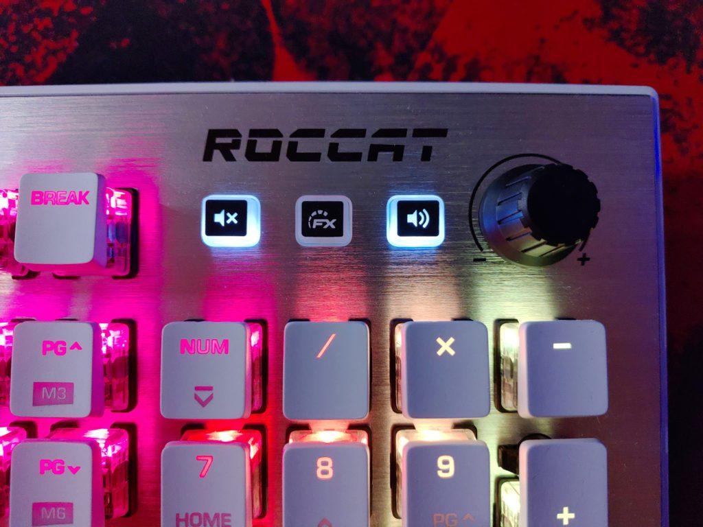 Roccat Vulcan 122 AIMO przyciski funkcyjne i pokrętło