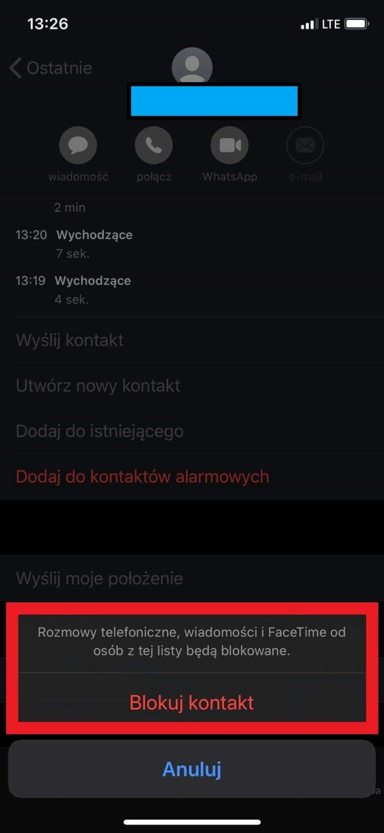 blokowanie połączeń iOS