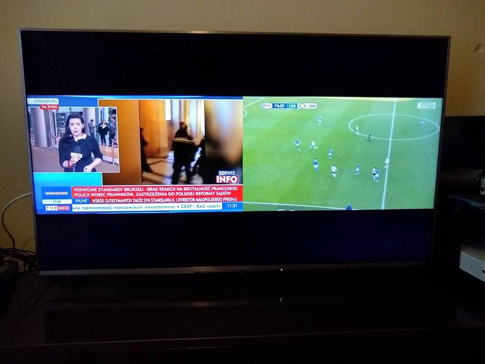 podzielony obraz na ekranie telewiora