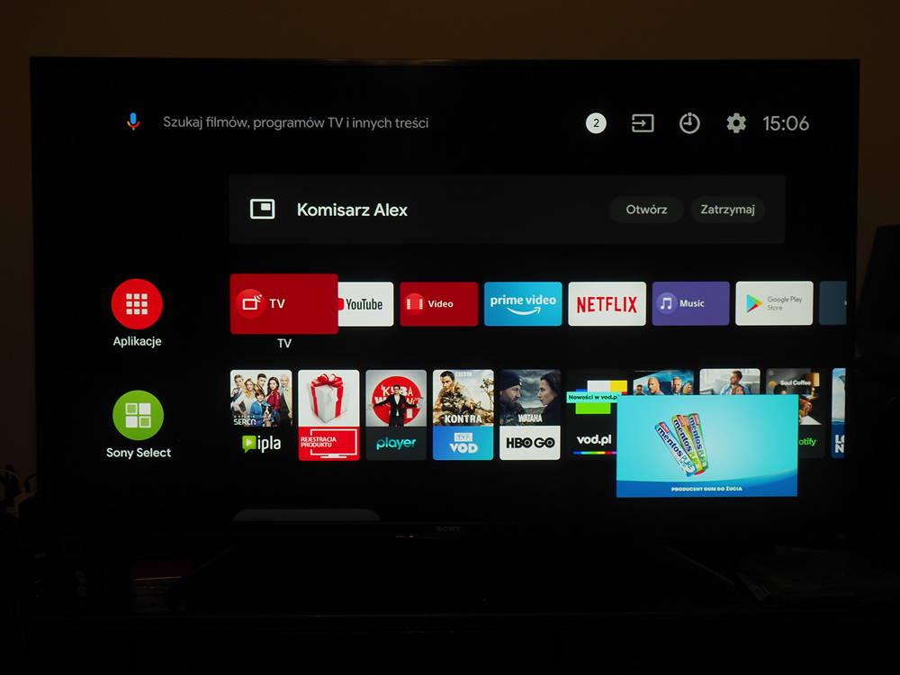 menu android 8 w telewizorze sony 49xg8396