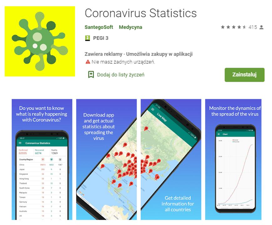 Aplikacja trackująca koronawirusa.