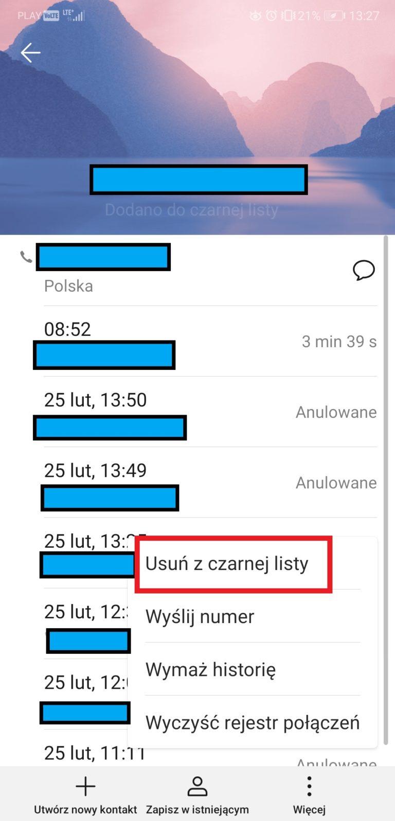 blokowanie numeru android