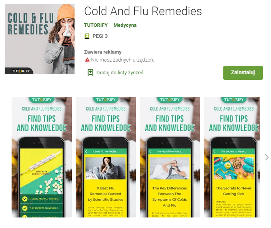 Aplikacja z naturalnymi poradami na grypę