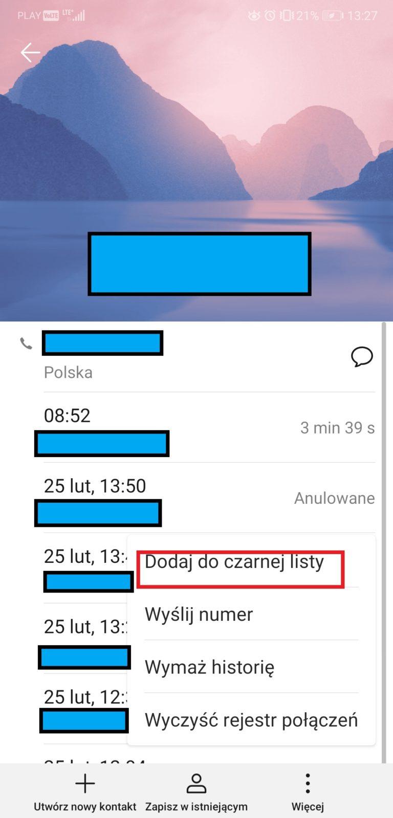 android blokowanie numeru