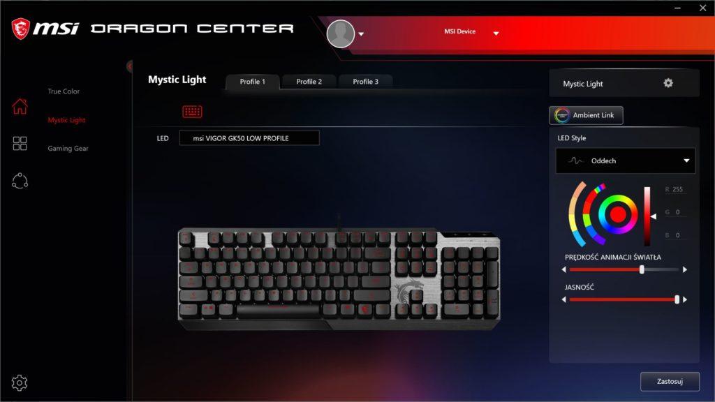 Dragon Center Mystic Light opcje podświetlenia