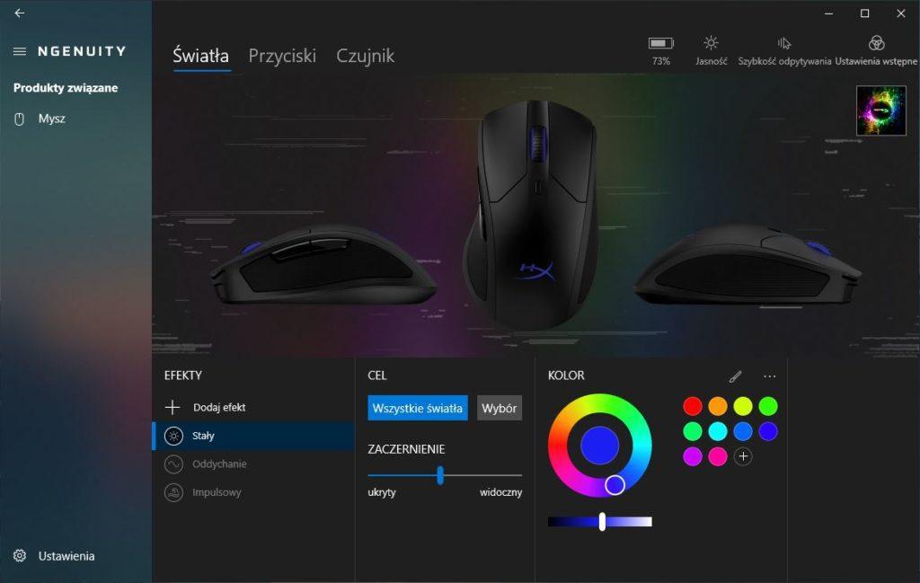 HyperX Ngenuity opcje myszy podświetlenie