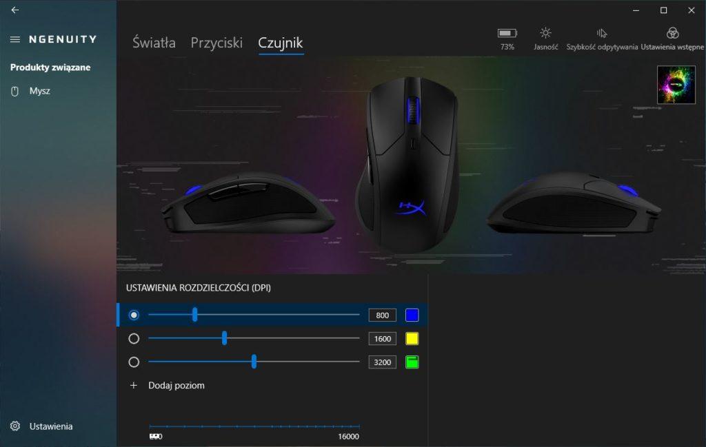 HyperX Ngenuity ustawienia czułości myszy