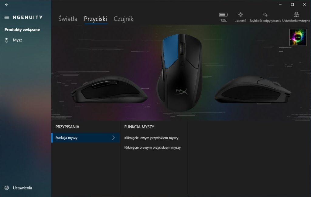 HyperX Ngenuity ustawienia przycisków myszy