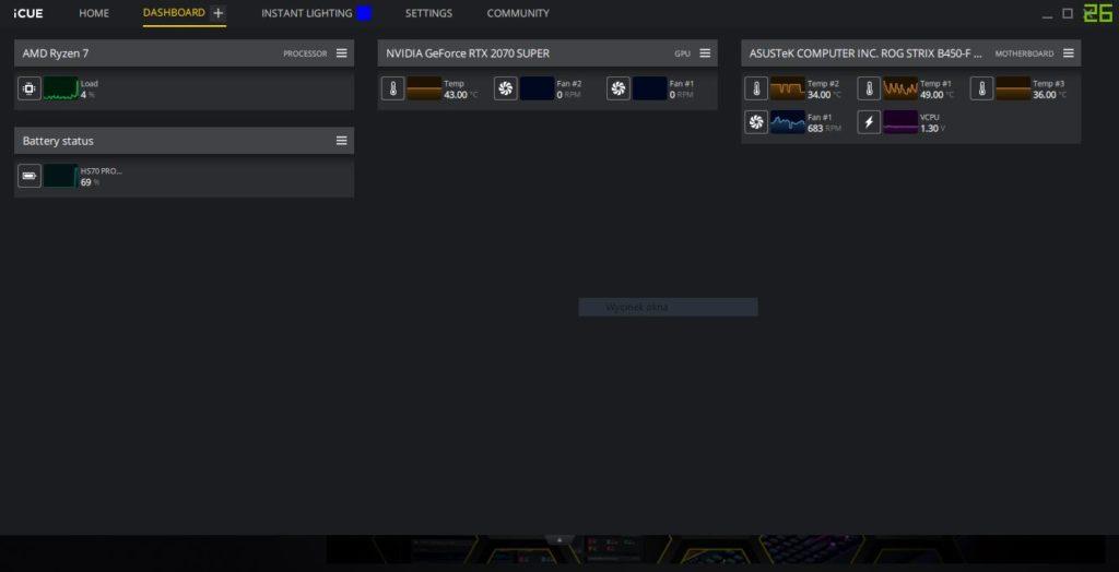 Oprogramowanie iCUE dashboard temperatury komputera