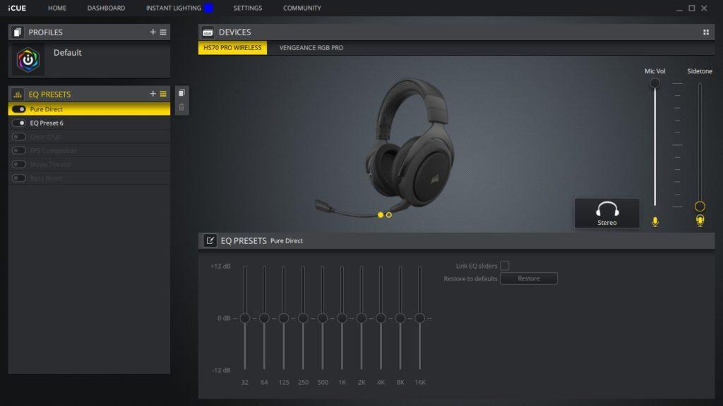Oprogramowanie iCUE korektor dźwięku