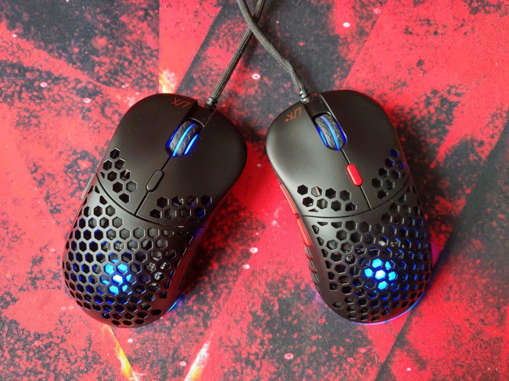 SPC Gear LIX i LIX Plus myszki obok siebie z uruchomionym RGB