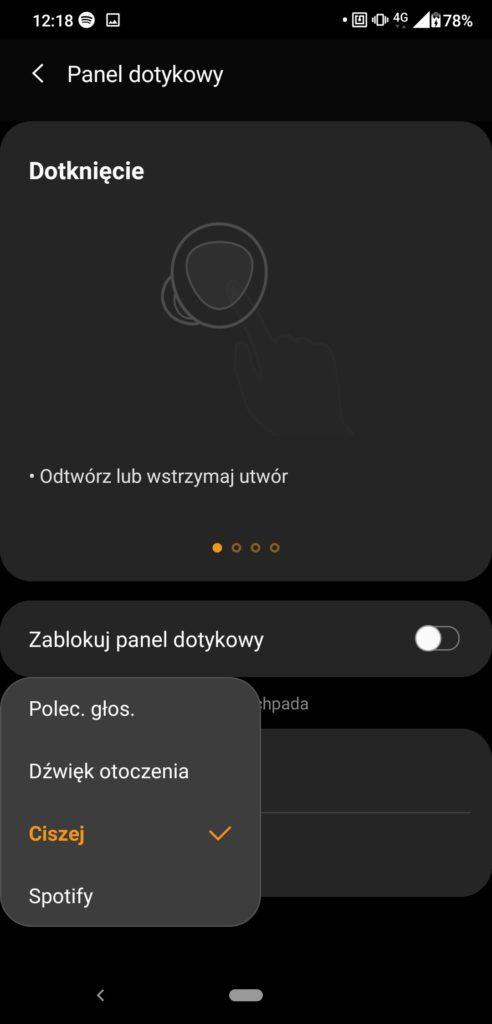 Samsung Wearable ustawienia panelu dotykowego