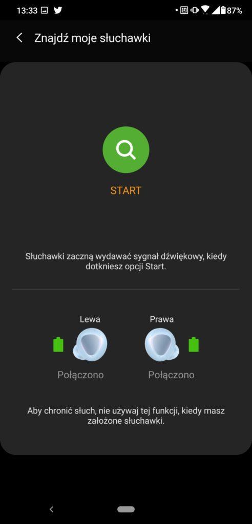 Samsung Wearable opcja znajdź moje słuchawki