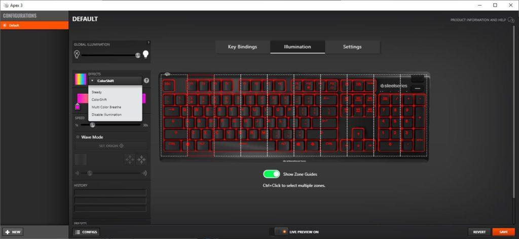 SteelSeries Engine Apex 3 okno zmiany ustawień podświetlenia RGB