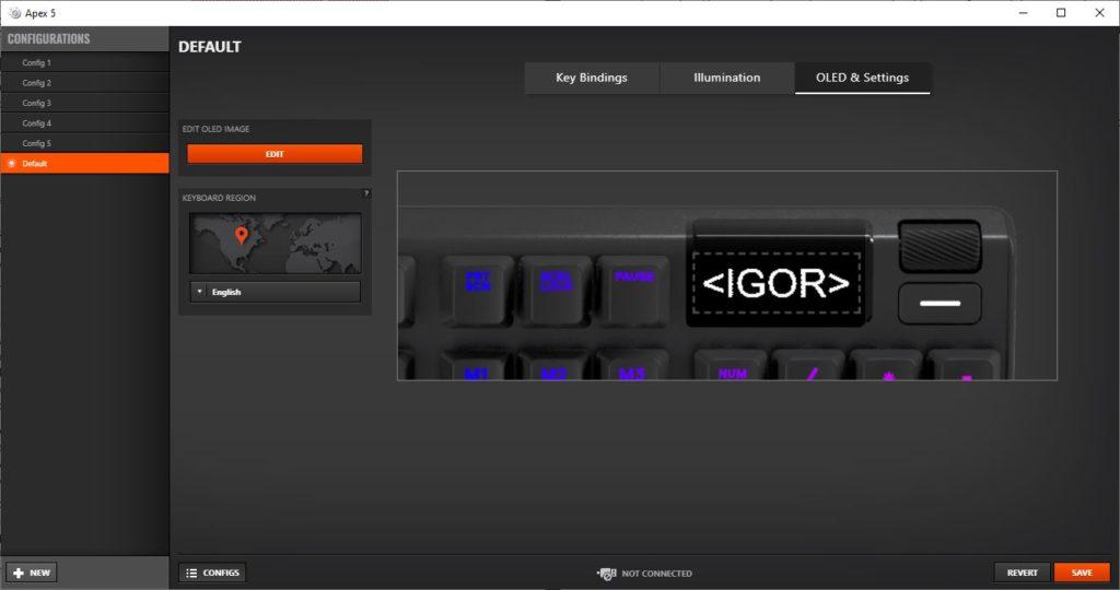 SteelSeries Engine Apex 5 okno zmiany logo dodatkowego ekranu OLED