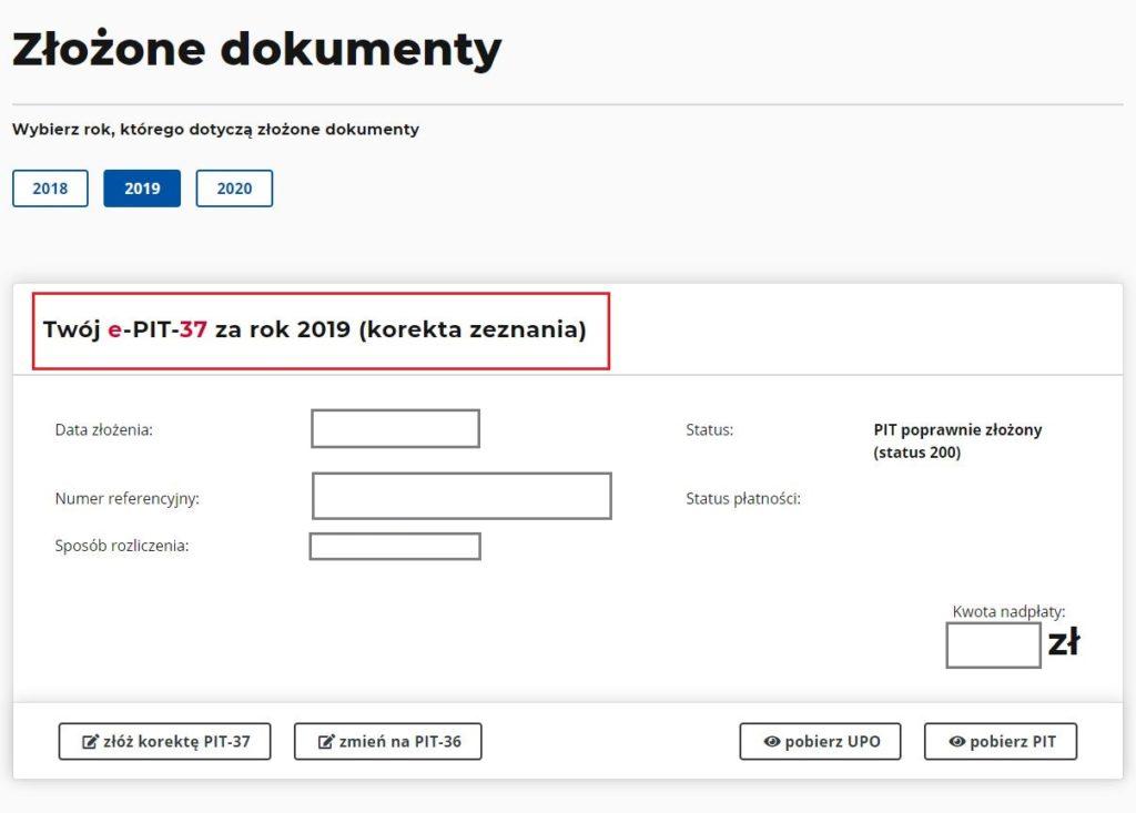 dokument e-PIT po korekcie
