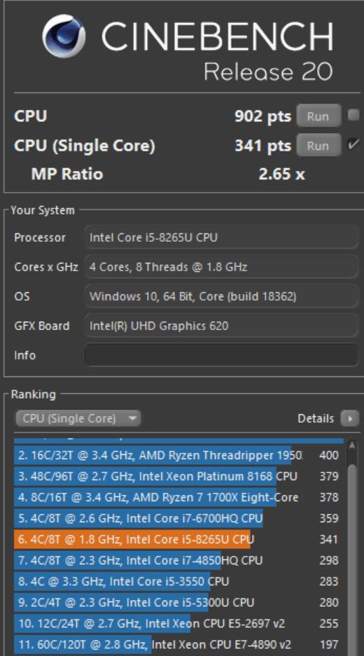 LG Gram Cinebench R20 Single Core