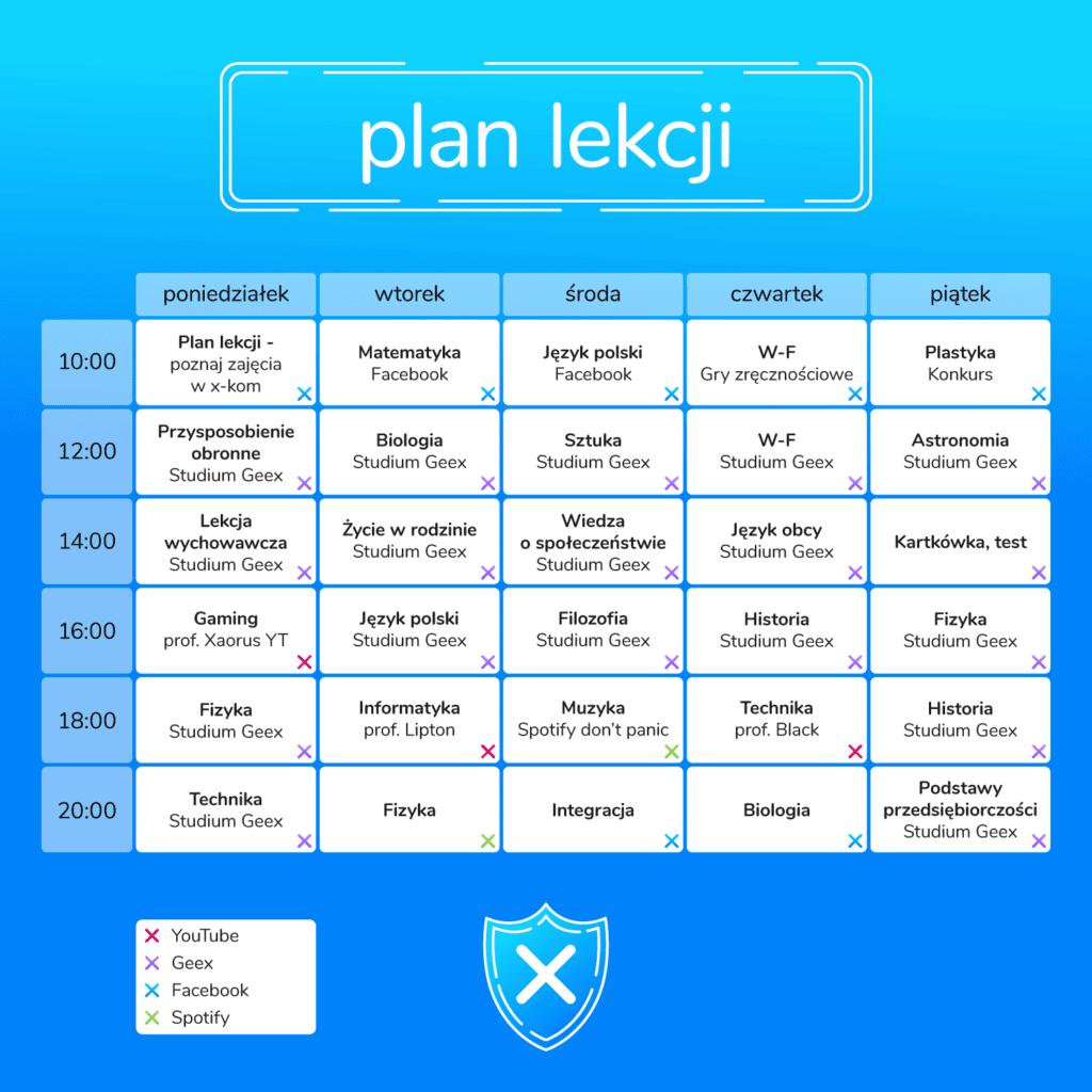 Plan lekcji Geex x-kom