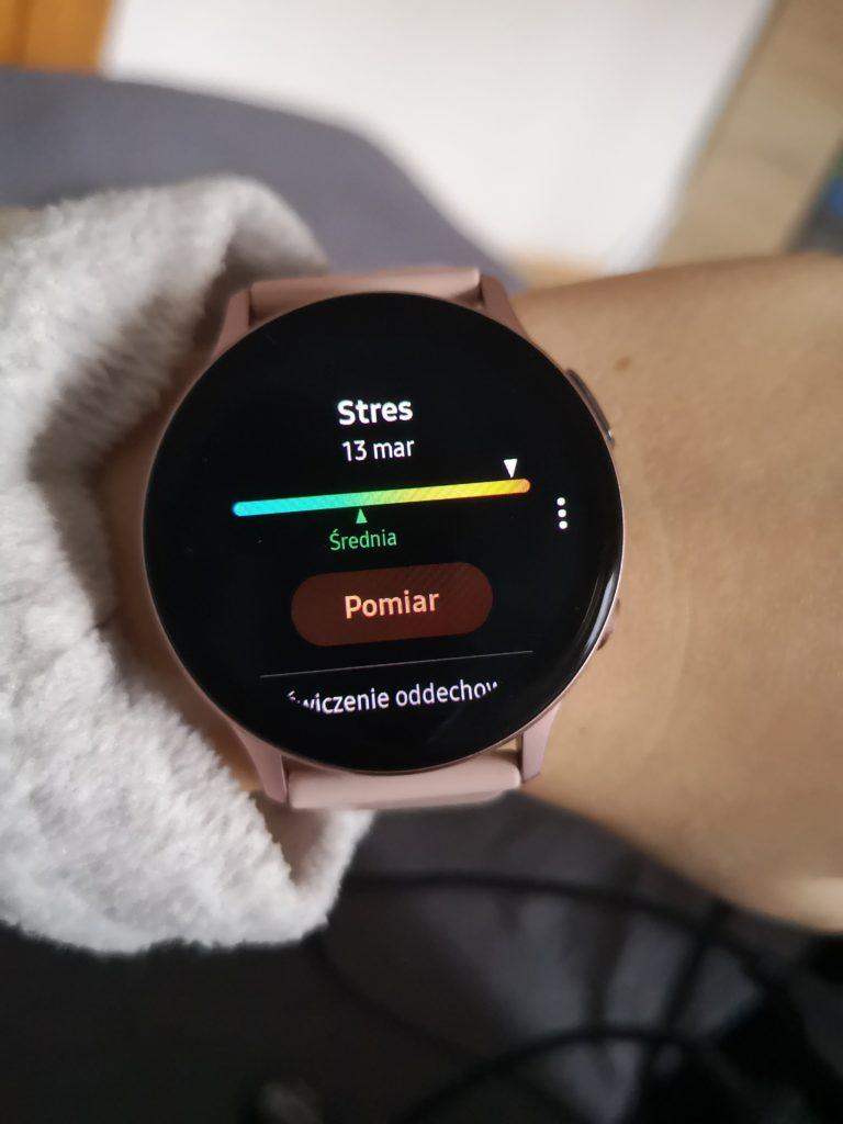 pomiar stresu smartwatch Galaxy Watch Active 2