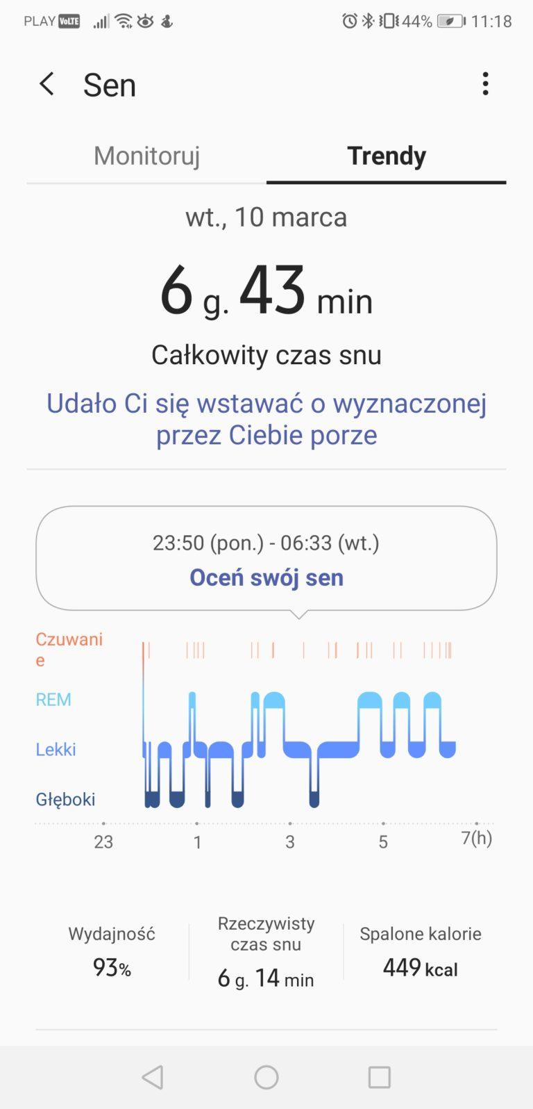 alaxy Watch Active 2 aplikacja do pomiaru jakości snu