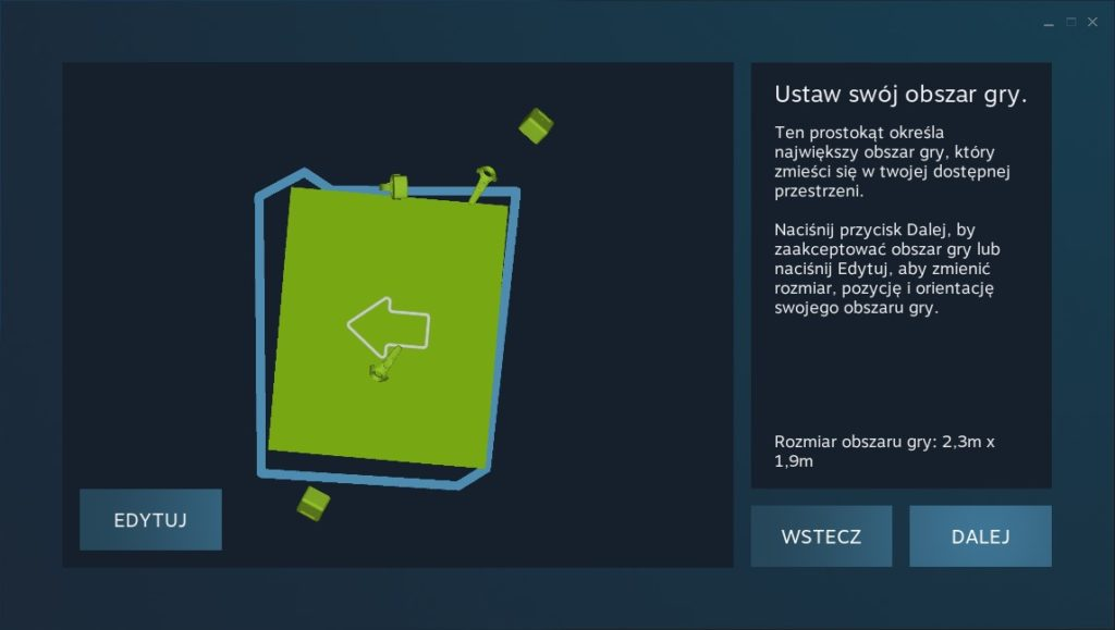 HTC Vive Cosmos Elite kalibracja przestrzeni Steam VR