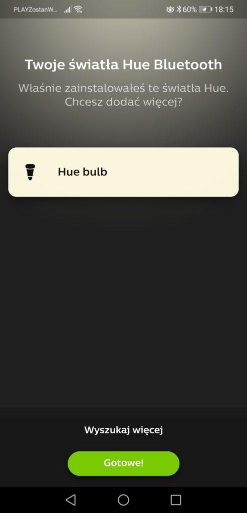 Aplikacja Philips Hue dodawanie żarówki Philips Bulb