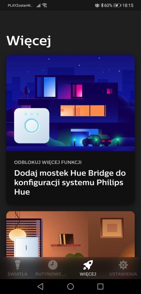 Aplikacja Philips Hue dodawanie mostka Bridge 2.0