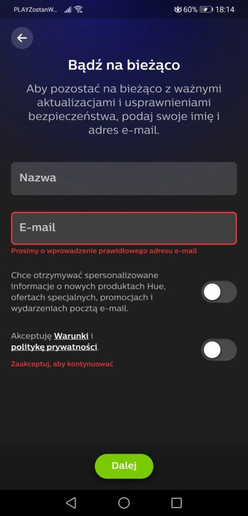 Aplikacja Philips Hue początek synchronizacji