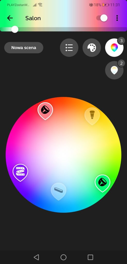 Aplikacja Philips Hue zamiana kolorów lamp RGB