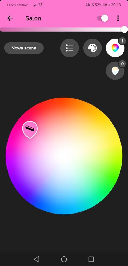 Aplikacja Philips Hue regulacja kolorów lampy Ambiance Play