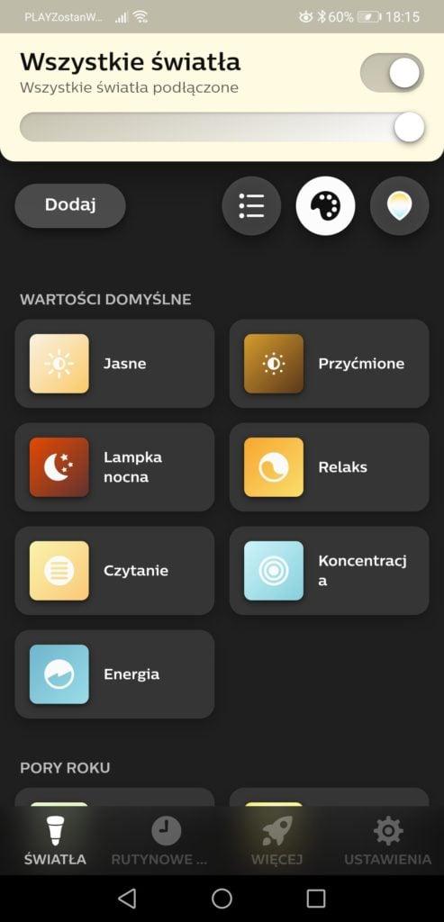Aplikacja Philips Hue wartości światła domyślne