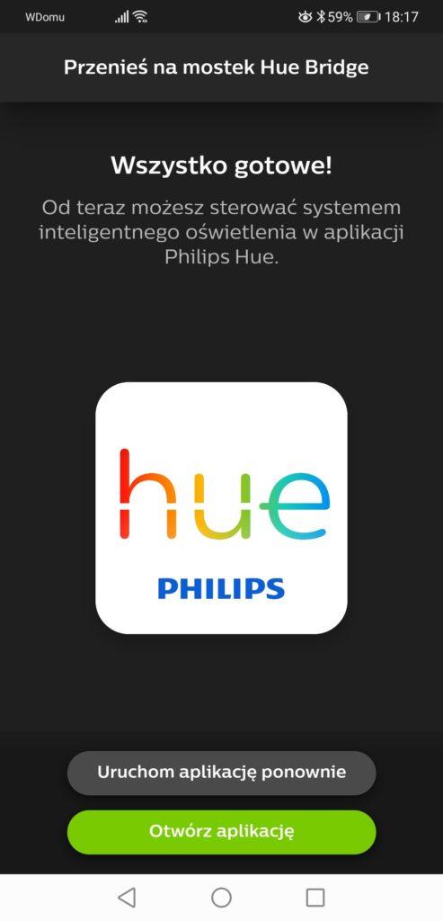 Aplikacja Philips Hue zakończenie instalacji